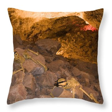 Two Skeletons Crawl Up A Rocky Hill Throw Pillow by Taylor S. Kennedy