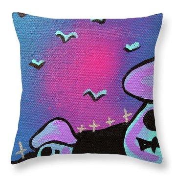 Two Zombie Mushrooms Throw Pillow by Jera Sky