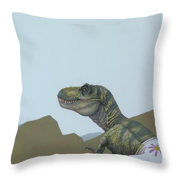 Tyranosaurus Rex Throw Pillow by Jasper Oostland