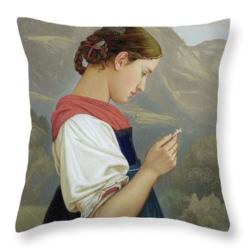 Tyrolean Girl Contemplating A Crucifix Throw Pillow by Rudolph Friedrich Wasmann
