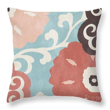 Umbrella Skies I Suzani Pattern Throw Pillow by Mindy Sommers