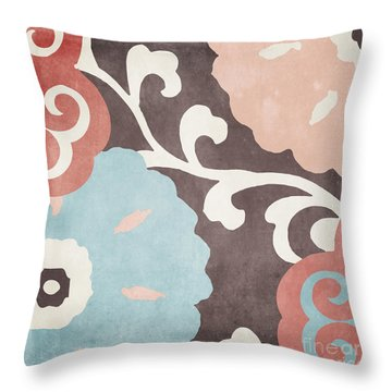 Umbrella Skies II Suzani Pattern Throw Pillow by Mindy Sommers