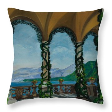 Under The Arches At Villa Balvianella Throw Pillow by Charlotte Blanchard
