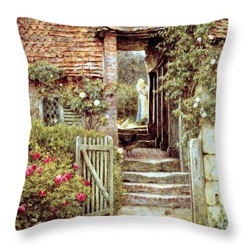 Under The Old Malthouse Hambledon Surrey Throw Pillow by Helen Allingham
