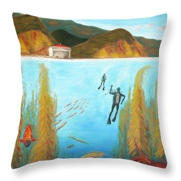 Underwater Catalina Throw Pillow by Nicolas Nomicos