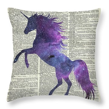 Unicorn In Space Throw Pillow by Jacob Kuch