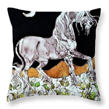 Unicorn Over Flower Field Throw Pillow by Carol  Law Conklin
