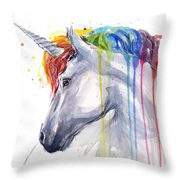 Unicorn Rainbow Watercolor Throw Pillow by Olga Shvartsur