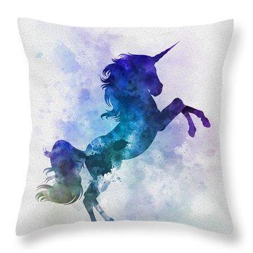 Unicorn Throw Pillow by Rebecca Jenkins