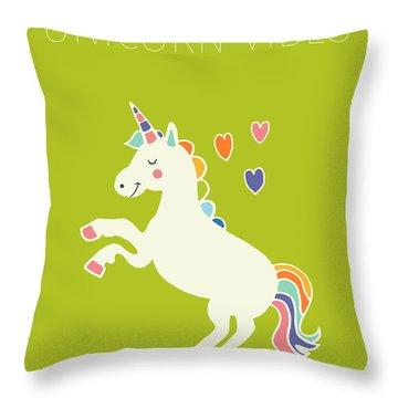 Unicorn Vibes Throw Pillow by Nicole Wilson
