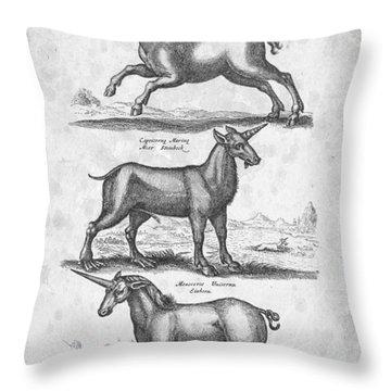 Unicorns 02 Historiae Naturalis 1657 Throw Pillow by Aged Pixel