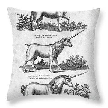 Unicorns 03 Historiae Naturalis 1657 Throw Pillow by Aged Pixel