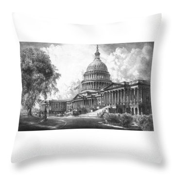 United States Capitol Building Throw Pillow by War Is Hell Store