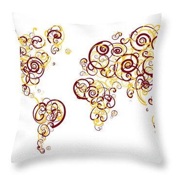 University Of Minnesota Twin Cities Colors Swirl Map Of The Worl Throw Pillow by Jurq Studio