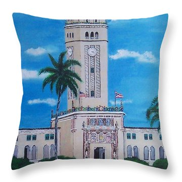 University Of Puerto Rico Tower Throw Pillow by Luis F Rodriguez