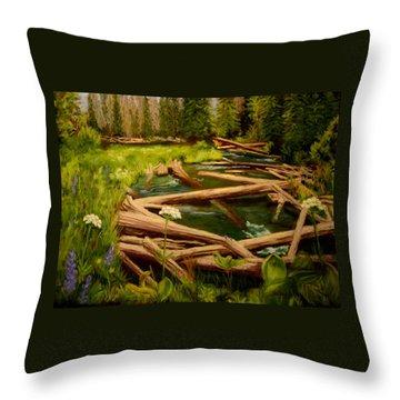 Upper Deschutes Throw Pillow by Nancy Jolley