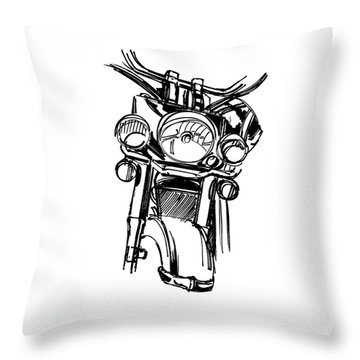 Urban Drawing Motorcycle Throw Pillow by Chad Glass