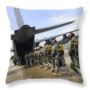 U.s. Army Rangers Board A U.s. Air Throw Pillow by Stocktrek Images