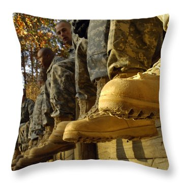 U.s. Army Soldiers Prepare For Basic Throw Pillow by Stocktrek Images