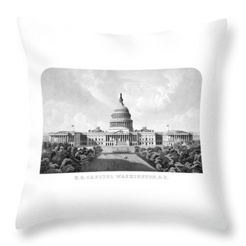 Us Capitol Building - Washington Dc Throw Pillow by War Is Hell Store