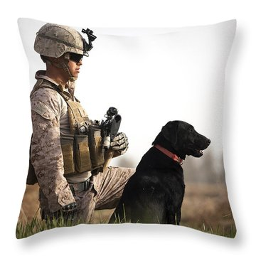 U.s. Marine Holds Security In A Field Throw Pillow by Stocktrek Images
