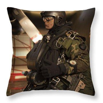 U.s. Navy Seal Combat Diver Prepares Throw Pillow by Tom Weber