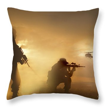 U.s. Special Forces Provide Security Throw Pillow by Tom Weber