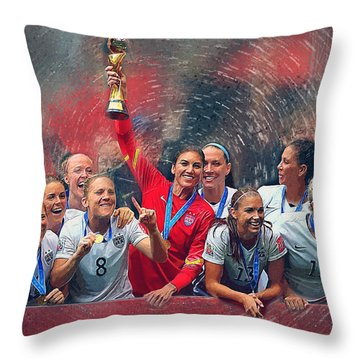 Us Women's Soccer Throw Pillow by Semih Yurdabak