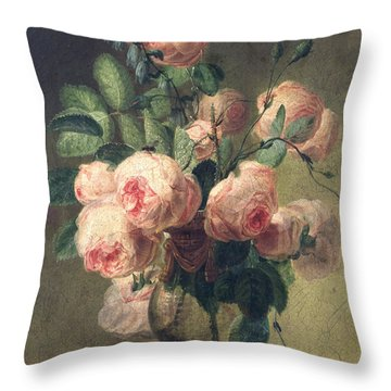 Vase Of Flowers Throw Pillow by Pierre Joseph Redoute