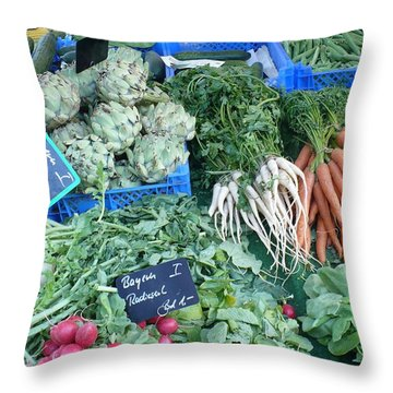 Vegetables At German Market Throw Pillow by Carol Groenen