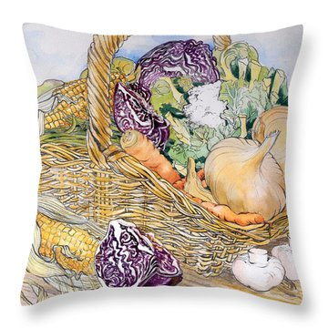 Vegetables In A Basket Throw Pillow by Joan Thewsey