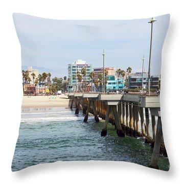 Venice Beach From The Pier Throw Pillow by Ana V Ramirez
