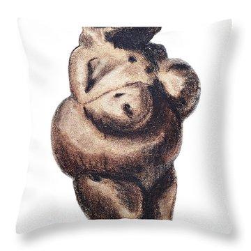 Venus - Fertility Symbol Throw Pillow by Michal Boubin