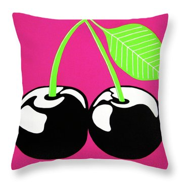 Very Cherry Throw Pillow by Oliver Johnston