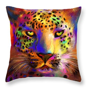 Vibrant Leopard Painting Throw Pillow by Svetlana Novikova