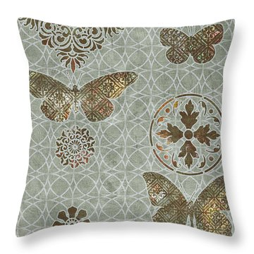 Victorian Deco Sage Throw Pillow by JQ Licensing