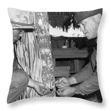 Viet Cong Booby Trap Throw Pillow by Underwood Archives