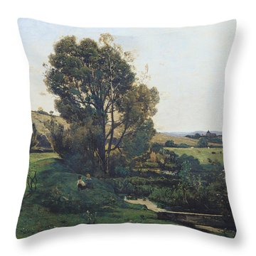 View From Moncel-sur-seine Throw Pillow by Henri-Joseph Harpignies