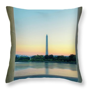 View From The Jefferson Memorial Throw Pillow by Andrew Soundarajan
