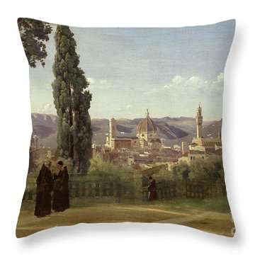 View Of Florence From The Boboli Gardens Throw Pillow by Jean Baptiste Camille Corot