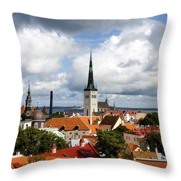 View Of St Olav's Church Throw Pillow by Fabrizio Troiani