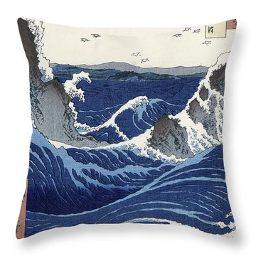 View Of The Naruto Whirlpools At Awa Throw Pillow by Hiroshige