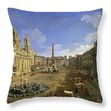 View Of The Piazza Navona Throw Pillow by Canaletto