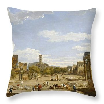 View Of The Roman Forum Throw Pillow by Giovanni Paolo Panini