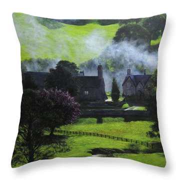 Village In North Wales Throw Pillow by Harry Robertson