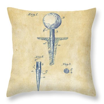 Vintage 1899 Golf Tee Patent Artwork Throw Pillow by Nikki Marie Smith