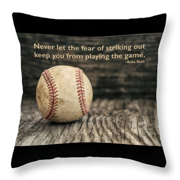 Vintage Baseball Babe Ruth Quote Throw Pillow by Terry DeLuco