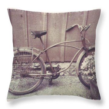 Vintage Bicycle Throw Pillow by Jane Linders
