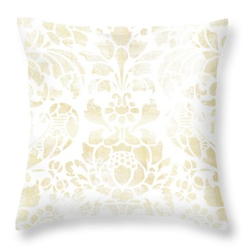 Throw Pillow featuring the painting Vintage Floral Pattern White Wash by Frank Tschakert