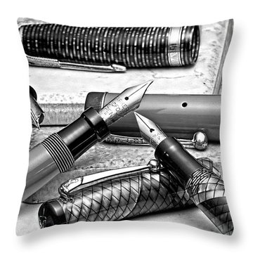Vintage Fountain Pens Throw Pillow by Tom Mc Nemar